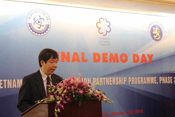 Thứ trưởng Bộ Khoa học và Công nghệ Trần Quốc Khánh phát biểu tai sự kiện Final Demo Day