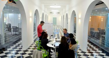 BKUP – co working space tận dụng không gian trong trường Đại học Bách khoa, HN  do công ty Up cùng đầu tư và hỗ trợ. Ảnh: Up Co working space.