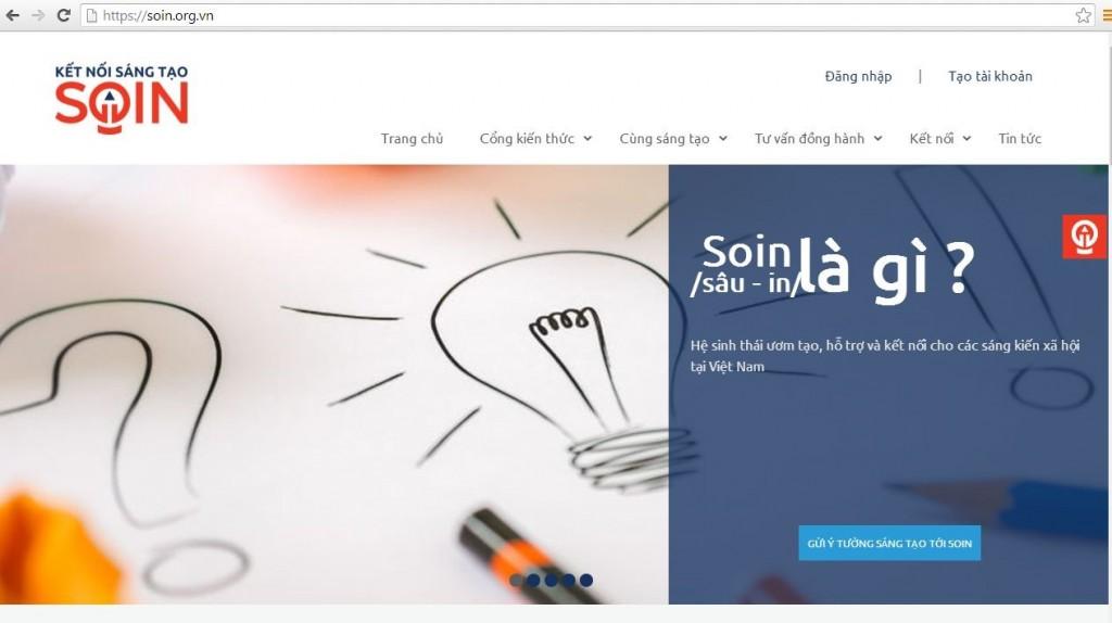 Giao diện trang chủ của SOIN.org.vn