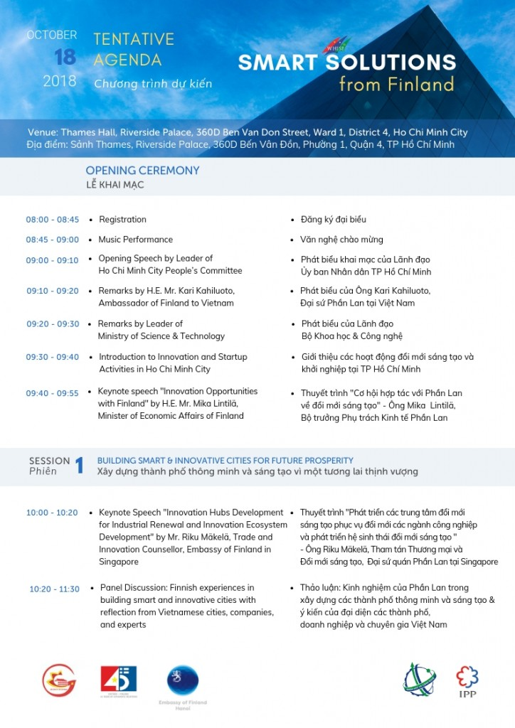 Tentative Agenda - Smart Solutions from Finland at WHISE 2018 (10)